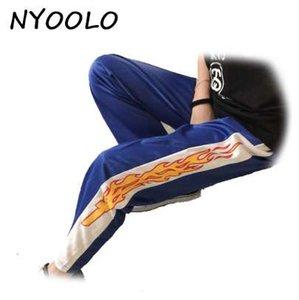 NYOOLO Corée conception vente chaude nouveauté flamme Imprimer Harajuku lâche occasionnels Droite pantalon femmes et hommes taille élastique hip hop pantalon