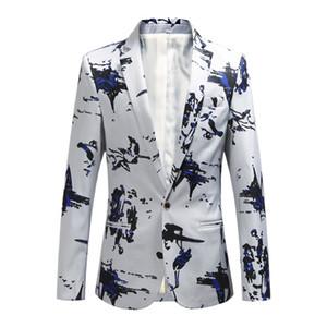 Youth Men's Long Sleeve Printed Suit Jacket Plus Sizes S M L XL 2XL 3XL 4XL 5XL 6XL Fashion Slim Fit Men Blazer Jackets