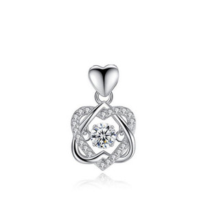 925 Sterling Silver Women Pendant Cubic Zirconia CZ White Gold Color Engagement Wedding Party Pendant No necklace