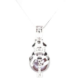 Argento 925 Scegli una perla Cage Pupazzo di neve Merry Christmas Locket Pendant Necklace Boutique Lady Gift K1042