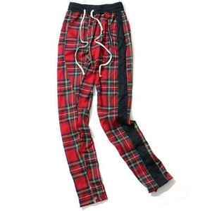 Harem Pants Men Scottish Plaid Side Zipper Track Sweatpants Color Block Straight Hip Hop Joggers Streetwear