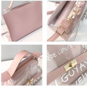 2020 New Womens Fashion Clear Tote Messenger Cross Body Shoulder Bag Handbag Laser Handbag Pu Leather High Quality