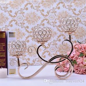 금속 골드 캔들 홀더 3-ARM 크리스탈 촛대 웨딩 센터 피스 Candelabra 스탠드 결혼 장식 식사 테이블