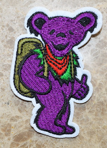 GROSSES SOLDES! ~ Purple Grateful Dead Groove DANCING BEAR Vert Bag thumb Iron Sur Patches, Appliques, Fait de Tissu, 100% Qualité
