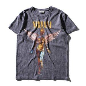 Erkek Ağır Metal NIRVANA Rock Grubu Kişilik Tshirt Eski UTERO Baskı T Gömlek Mens Hip Hop Casual Tee Gömlek