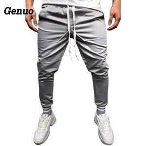 Pantaloni da uomo Genuo Streetwear 2018 Autunno Slim Tinta unita Pantaloni da uomo Pantaloni casual da jogger