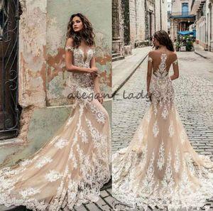 Champagne Julie Vino mermaid Wedding Dresses 2018 Off Shoulder Deep Plunging Neckline Bridal Gowns Sweep Train Lace Wedding Dress