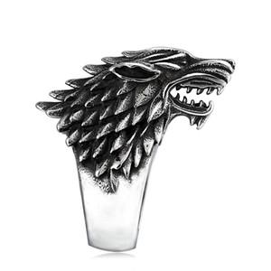 ÜCRETSIZ KARGO Mens Direwolf yüzükler House Stark Winterfell Sigil Buz Kurt Yüzükler Biker Hayvan Yüzükler Film Inspired Takı