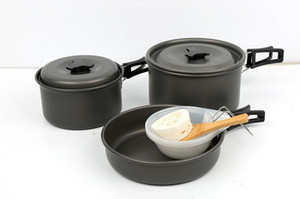 2-3 People Camping Tableware Picnic Set - Lightweight Anodized Aluminum Outdoor Cooking Pots Pan Utensils Stackable Set Travel Cookware