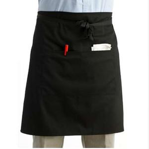LUOEM Universale Unisex donna uomo cucina grembiule vita grembiule grembiule cameriere grembiule con doppia tasca (nero)