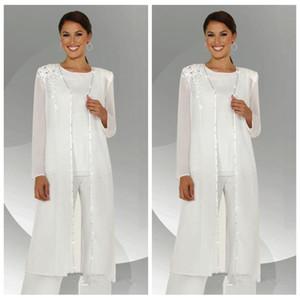 2021 Benutzerdefinierte formale weiße Chiffon Lange Ärmel Mutter der Braut Hose Anzüge mit langen Bluse Spitze Pailletten Perlen Mutter des Bräutigam-Hosenanzugs