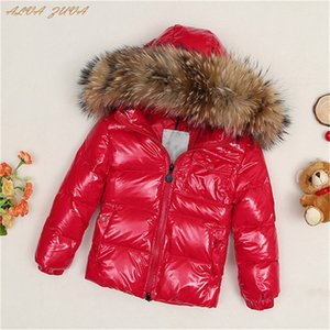 Children Down Jacket 2018 Russia Winter Raccoon Fur Collar Kids Warm Outwear Snow Coat For Boys Girls Cyy149