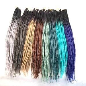 Crochet Braiding Senegalese Twist Hair Ombre Two Color 24inch Synthetic Braids Bulk Hair Extensions Customized Color