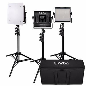 GVM 480LS 3 Conjunto de Luz LED de Vídeo com Kit de Suporte 2300K-6800K CRI97 Painel de Luz de Vídeo Regulável para Fotografia e Iluminação de Vídeo