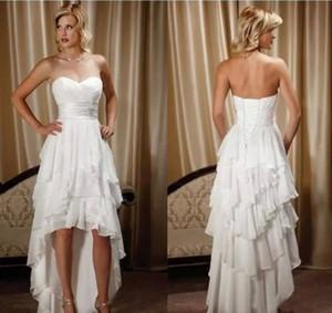 VESTITO da sposa 2018 Simple Haut Bas mariage de plage robe blanche sans manches, bretelles Robes de mariée formelles pour Weding Custom Made Girl