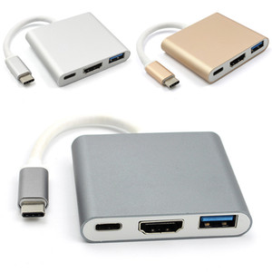 Novo Tipo-C para HDMI 4K a 60Hz Adaptador com Portas de Carregamento USB3.0 de 5Gbps e USB C 3.1 PD para MacBook / ChromeBook Pixel