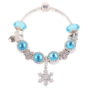 AIFEILI Snowflake Pendant Sky Blue Series DIY Fit Women Bracelet European High Quality Fashion Gift Jewelry