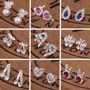 Смешанный заказ Мульти стиль и сверкающая мода любовь бабочки тонкого Rhinestone ухо жемчужных серег девушка Madam ювелирные изделия T2C137