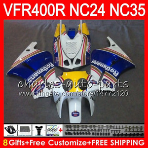 RVF400R Para HONDA VFR400 R NC24 V4 VFR400R 87 88 94 95 96 81HM.0 RVF VFR 400 R NC35 VFR 400R 1987 1988 1994 1995 1996 Carenagem Rothmans Azul