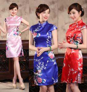 프로모션 복고풍 중국어 Cheongsam 짧은 실크 새틴 높은 목 민소매 무릎 길이 QiPao 저렴한 인쇄 파티 드레스 Bodycon