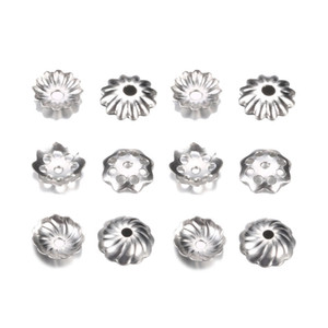 500pcs lot Stainless Steel Torus Bead Caps for Pearl End Receptacle Flower Diy Spaced Apart Jewelry Accessories For wholesale