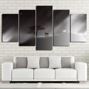 5 Panel de pared del arte en la lona de los ciervos en la luna modular Pintura al cartel de la impresión de la lona Wall Art