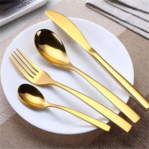 Gold Посуда Набор столовых приборов Посуда Столовые приборы Оптовая 4шт Набор из нержавеющей стали Ужин нож вилка ложка Чайная ложка