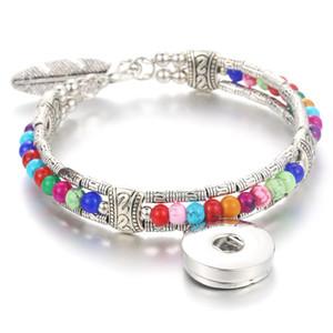 Botão colorido Moda Étnica snap Jóias botões de pressão 18 milímetros Snaps pulseira de prata pulseira Feather