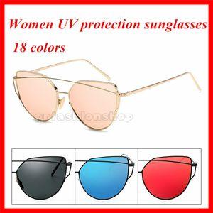 New Woman Luxo Moda Metal Sunglasses Moda Trend Cat Eye Óculos de Sol para Lady Visor Sunglasses 18 cores Acessórios de moda opcional