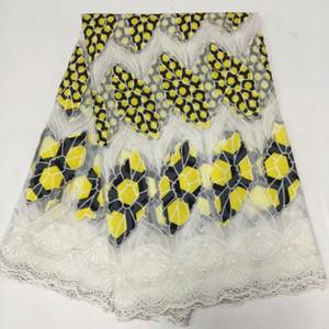 5Yards / pc Wonderful bordados estilo amarelo de leite africano rendas de seda e tecido de algodão roxo para o vestido BM3-4