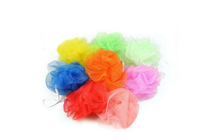 Atacado New malha colorida de nylon banho de flores de banho Spa Shower Scrubber esfera do banho de lavagem colorida 10g Banho Escovas Esponjas