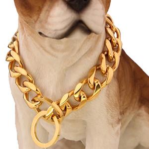 15 milímetros 12-34inch aço inoxidável 316L cor do ouro de alta qualidade Dog Pet Link Cadeia Colares Colar VICHOK
