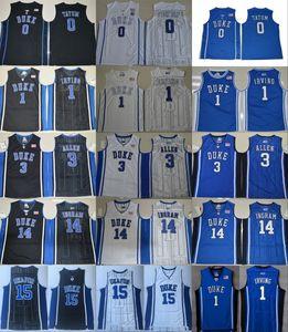 Duke Blue Devils College Kyrie 1 Jersey Irving Hommes Grayson 3 Allen Jayson 0 Tatum Brandon 14 Ingram Jahlil 15 Okafor Bleu Noir Blanc Jersey