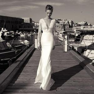 Zoog Estúdio 2020 Lace Bainha praia vestidos de casamento mangas compridas vestidos de noiva Sexy profunda V Neck Lace apliques Chiffon Boho vestido de casamento