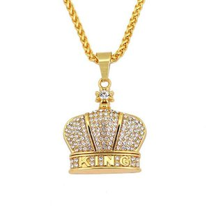 2018 رجل 18 كيلو مطلية بالذهب الملك ولي سحر 75 سنتيمتر الكوبي سلسلة الهيب هوب مثلج خارج الذهبي ولي الملك قلادة قلادة للرجال النساء