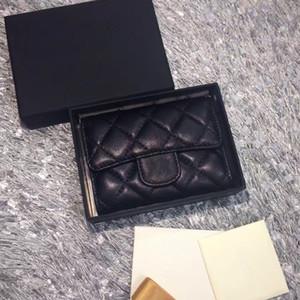 2018 das mulheres moda titulares de cartão de couro genuíno pele de carneiro acolchoado Flap Mini Carteiras Bolsas Femininas Titular do Cartão Bolsa Da Moeda com caixa