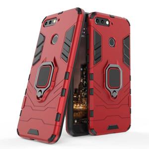 Huawei İçin 7 7A 7C 7S Vaka 360 Döner Halka Kickstand Araç Manyetik Dağı Kapak Kılıf Siyah Panther Enjoy