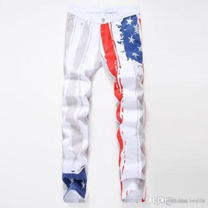 Men's White Printed American Flag Casual Jeans Painted Color Embossed Pattern Tide Fashion Big Printed Jeans Sizes 28-42