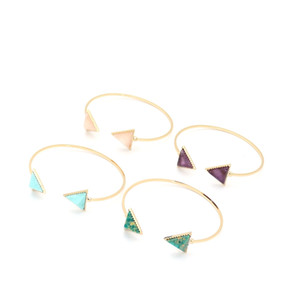Braceletes naturais da pedra do embutimento do bracelete da pedra do triângulo do embutimento de Druzy Bracelets do cuprum da pedra do embutimento