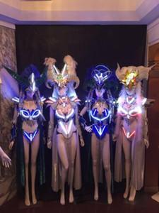 Led Luminous Sexy Frauen Ballroom Kostüm LED DJ Nachtclub Party Laufsteg Zeigen Abendkleid Kleidung Für Tanzen Bühnenshow