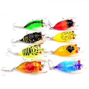 40PCS Cicada Lure Fishing Lures Liftlike Insect Bait Fishing Tackle Crankbait 4cm 6g