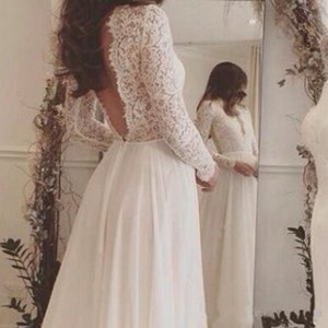2019 New Long Sleeves Sweep Train Backless Country Bridal Gowns Deep V Neck Custom Cheap 2017 Charming Lace Chiffon Beach Wedding Dresses