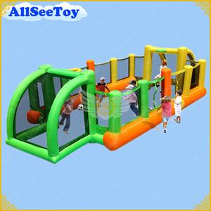 Campo de futebol inflável para crianças, jogo inflável agradável para uso familiar, ventilador de ar incluído castelo Bouncy