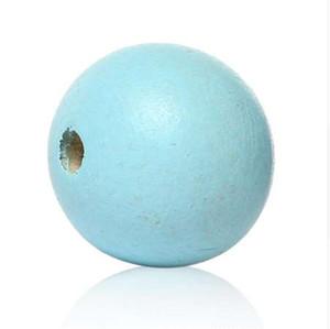 """DoreenBeads Wood Spacer Beads Redondo azul claro Aproximadamente 12.0 mm (4/8 """") de diámetro, orificio: Aproximadamente 2.1 mm-3.1 mm, 24 piezas"""