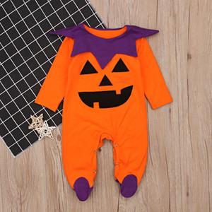 Baby pattern Halloween Pumpkin Tutina 0-1T piccoli carino zucca arancione a maniche lunghe abbigliamento impacco piedi pagliaccetto Holloween cosplay