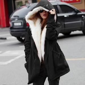 Kadınlar Kış Sıcak Ceket Kalın Polar Faux Kürk Parka Kapşonlu Dış Giyim Casaco Feminino