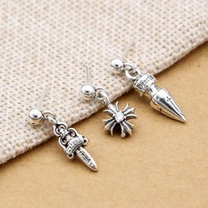 Новый 925 стерлингового серебра ювелирные изделия бренда дизайнер серьги американской Европы Винтажный стиль крест шпилька мотаться серьги для женщин