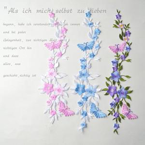 Mariposas Flores Applique Bordado de la Ropa Parche de Tela Pegatina de Hierro en Coser Parche de Reparación de Costura de Artesanía Bordado, 2 unids / set