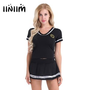 iiniim Women School Girls Cosplay Sexy Costumes Lingerie Outfit Clubwear Short Sleeve T-shirt Top with Mini Skirt and G-string C18111601