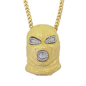 Hip Hop Hommes Anti-Terrorisme Masque Pendentif Collier Or Noir Bling Cristal CSGO SKI MASQUE Collier pour les Fans de Jeu